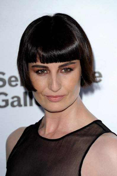 Erin O'Connor Short Cut With Bangs [hair,face,hairstyle,bangs,eyebrow,chin,shoulder,lip,beauty,black hair,arrivals,erin oconnor,london,england,serpentine gallery,summer party,the serpentine gallery,serpentine gallery summer party]