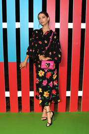 Angela Sarafyan was pretty in Escada florals during the brand's Spring 2019 show.