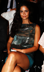 Shermine Shahrivar was spotted at the Escada runway show in a sexy sequin and silk dress.