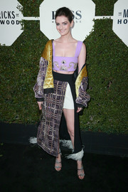 Lydia Hearst attended Esquire's Mavericks of Hollywood event rocking a bejeweled lavender crop-top by Fausto Puglisi.