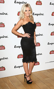 Mollie King's LBD had a modern touch with some delicate lace detailing at the bust and hem.