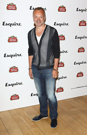 Graham Norton chose a mesh cardigan for his look at the Esquire Summer Party in London.