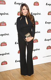 Zara Martin showed off her fit-figure with this black long-sleeve jumpsuit that featured cutout detailing.