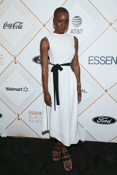 Danai Gurira styled her dress with a pair of strappy, stacked platforms by Gabriela Hearst.