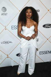 Angela Bassett was white-hot in a cleavage-flaunting jumpsuit by Yaniv Persy at the Essence Black Women in Hollywood Awards.