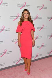 Elizabeth Hurley was chic and ladylike in a pink cold-shoulder cocktail dress at the Estee Lauder 2018 Breast Cancer Campaign event.