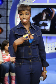 Estelle showed off her signature bowl cut while at BET's 106 & Park.