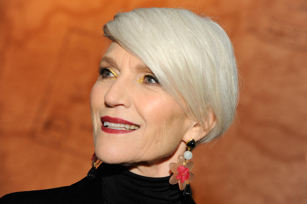 Maye Musk sported a short straight 'do with a deep side part at the Etihad Airways NYFW event.