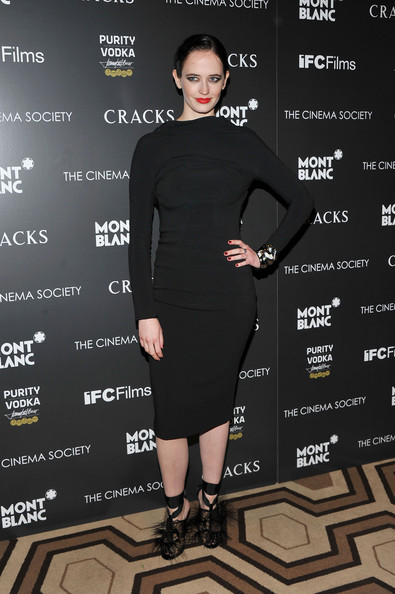 Eva Green Little Black Dress [little black dress,dress,shoulder,flooring,fashion model,fashion,catwalk,outerwear,joint,sleeve,arrivals,eva green,screening,cracks,montblanc,new york city,tribeca grand hotel,cinema society montblanc host a screening of ``cracks,cinema society]