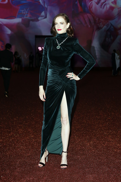 Eva Green Shoulder Pad Dress