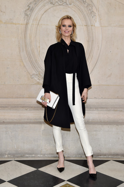Eva Herzigova High-Waisted Pants [haute couture spring summer,white,fashion model,fashion,coat,outerwear,shoulder,runway,costume,catwalk,fashion design,christian dior,eva herzigova,part,christian dior haute couture spring summer 2017,paris,france,photocall - paris fashion week,show,paris fashion week]