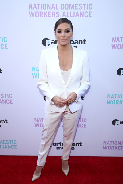 Eva Longoria Pantsuit [the heroines in our homes,red carpet,white,carpet,clothing,shoulder,fashion,suit,flooring,joint,pantsuit,eva longoria,awards,los angeles,california,the jane club,national domestic workers alliance,awards night watch party,night watch party]
