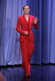 Evan Rachel Wood rocked all-red Dolce & Gabbana during her appearance on 'Jimmy Fallon.'