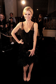 Julie Bowen opted for this LBD with fringe, feather detailing for a retro Art Deco style look.