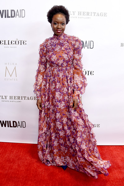 Danai Gurira was boho-glam in a flowing floral gown by Giambattista Valli at the Evening in China with WildAid event.