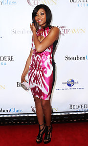 Taraji wore a printed cutout dress with platform Daryl sandals, both form the Spring 2010 collection.