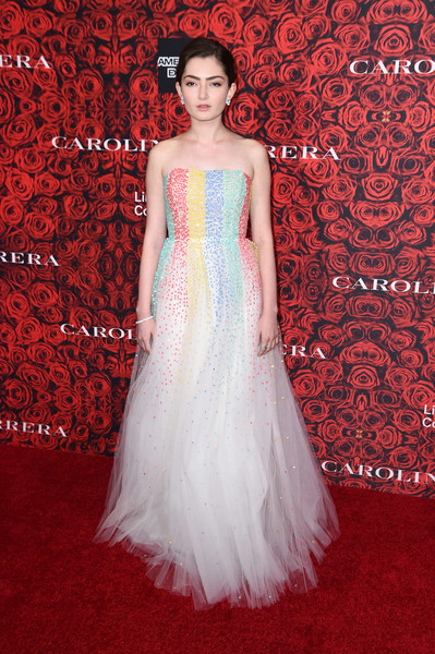 Emily Robinson looked enchanting in a strapless, rainbow-sequined ball gown at the Evening Honoring Carolina Herrera event.