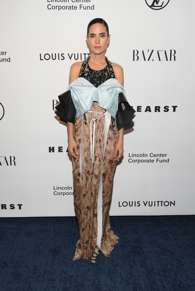 Jennifer Connelly looked fashion-forward in a mixed-pattern gown with a sculptural layered bodice at the Evening Honoring Louis Vuitton event.