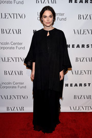 Keira Knightley looked diva-ish in a black-on-black cape and gown combo at the Evening Honoring Valentino Gala.