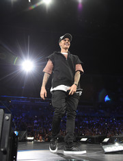 Justin Bieber finished off his ensemble with black leather sneakers.