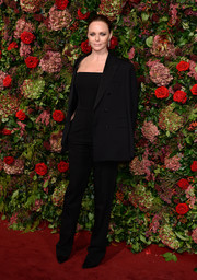 Stella McCartney kept it low-key in a black jumpsuit and jacket combo from her own label at the 2018 Evening Standard Theatre Awards.