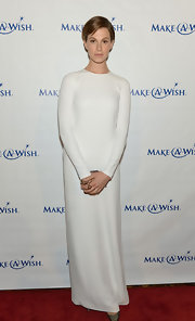 Elettra Wiedemann sported a sleek and sophisticated white gown at the Make-A-Wish Metro Gala.
