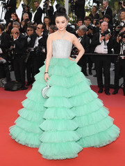 Fan Bingbing looked mesmerizing in a strapless silver and aquamarine ball gown by Ali Karoui at the Cannes Film Festival opening gala.