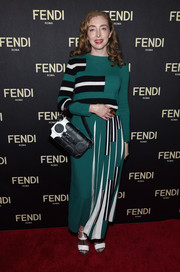 Rachel Feinstein's Fendi ensemble was a visual explosion thanks to the polka-dot pattern on her leather purse and the stripes on her outfit.