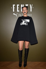 Adele Exarchopoulos hit the Fenty x Puma fashion show wearing an oversized black sweatshirt (and no pants!).