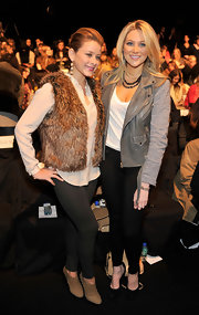 Stephanie looked motorcycle-chic in a gray leather jacket with knit sleeves at the Rebecca Minkoff fashion show.