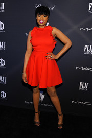 Jennifer Hudson completed her outfit with delicate black strappy sandals.