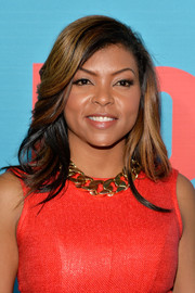 Taraji P. Henson dressed up her outfit with a thick gold chain necklace.