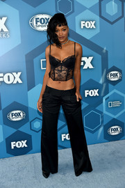 Keke Palmer burned up the blue carpet in a sheer black corset top by Josie Natori during the Fox 2016 Upfront.