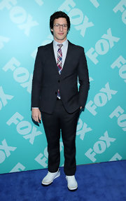 Andy Samberg's gray two-button suit gave him a polished and mature look at FOX's 2013 programming presentation.
