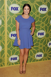 Alexa Vega was chic in powder blue at the FOX soiree in California. Alexa paired her look with patent leather nude platform pumps.