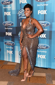 Fantasia Barrino brought major sparkle to the 'American Idol' finale with this fully sequined halter gown.