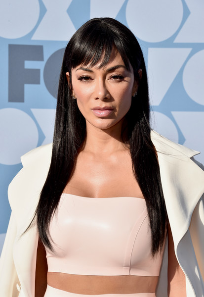 More Pics of Nicole Scherzinger Long Straight Cut with Bangs (1 of 4) - Long Hairstyles Lookbook - StyleBistro [hair,face,hairstyle,shoulder,skin,beauty,chin,long hair,layered hair,lip,all-star party - arrivals,nicole scherzinger,california,los angeles,fox summer tca,fox studios,all-star party]