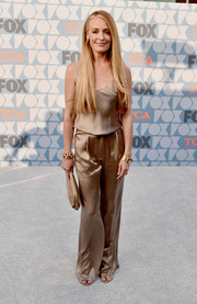 Cat Deeley attended the Fox Summer TCA 2019 All-Star Party wearing a chic gold satin cami.
