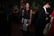 Genevieve Jones wore a gorgeous black silky blouse to attend the Frank After Party.