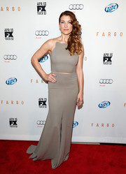 Kate Walsh went for modern glamour at the 'Fargo' screening in a gray Maria Lucia Hohan gown with sheer-illusion shoulder straps.