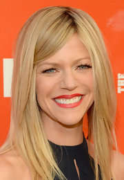 Kaitlin Olson emphasized her lips with a rich red  color when she attended the FXX Network launch.