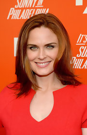 Emily Deschanel styled her hair in a side-parted layered 'do for the FXX Network launch.