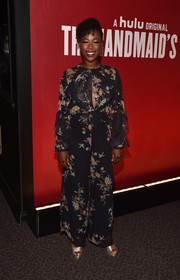 Samira Wiley chose a Zimmermann floral jumpsuit with a peekaboo front for the 'Handmaid's Tale' FYC event.