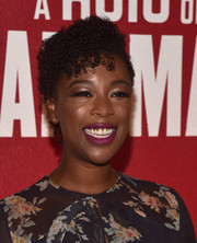 Samira Wiley wore her hair in short, tight curls at the FYC event for 'The Handmaid's Tale.'