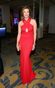 Brenda Strong looked alluring in a red halter gown with a keyhole cutout and a strappy neckline at the Family Equality Council's Impact Awards.