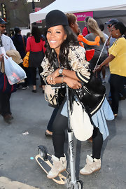 June Ambrose pulled off a stylish ensemble featuring a pair of wedge sneakers.