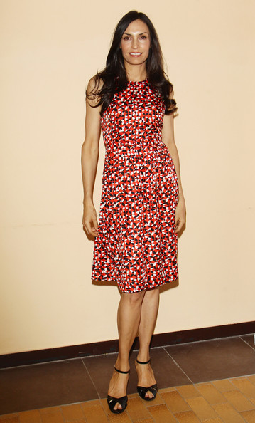 Famke Janssen Print Dress