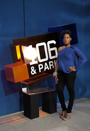 Fantasia Barrino wore a blue top teamed up with a pair of skinny jeans for her BET Studio visit.