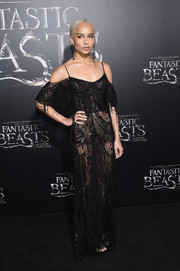 Zoe Kravitz went risque in a sheer black net gown by Alexander McQueen at the world premiere of 'Fantastic Beasts and Where to Find Them.'