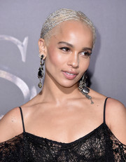 Zoe Kravitz rocked an ice-blonde cornrow updo at the world premiere of 'Fantastic Beasts and Where to Find Them.'
